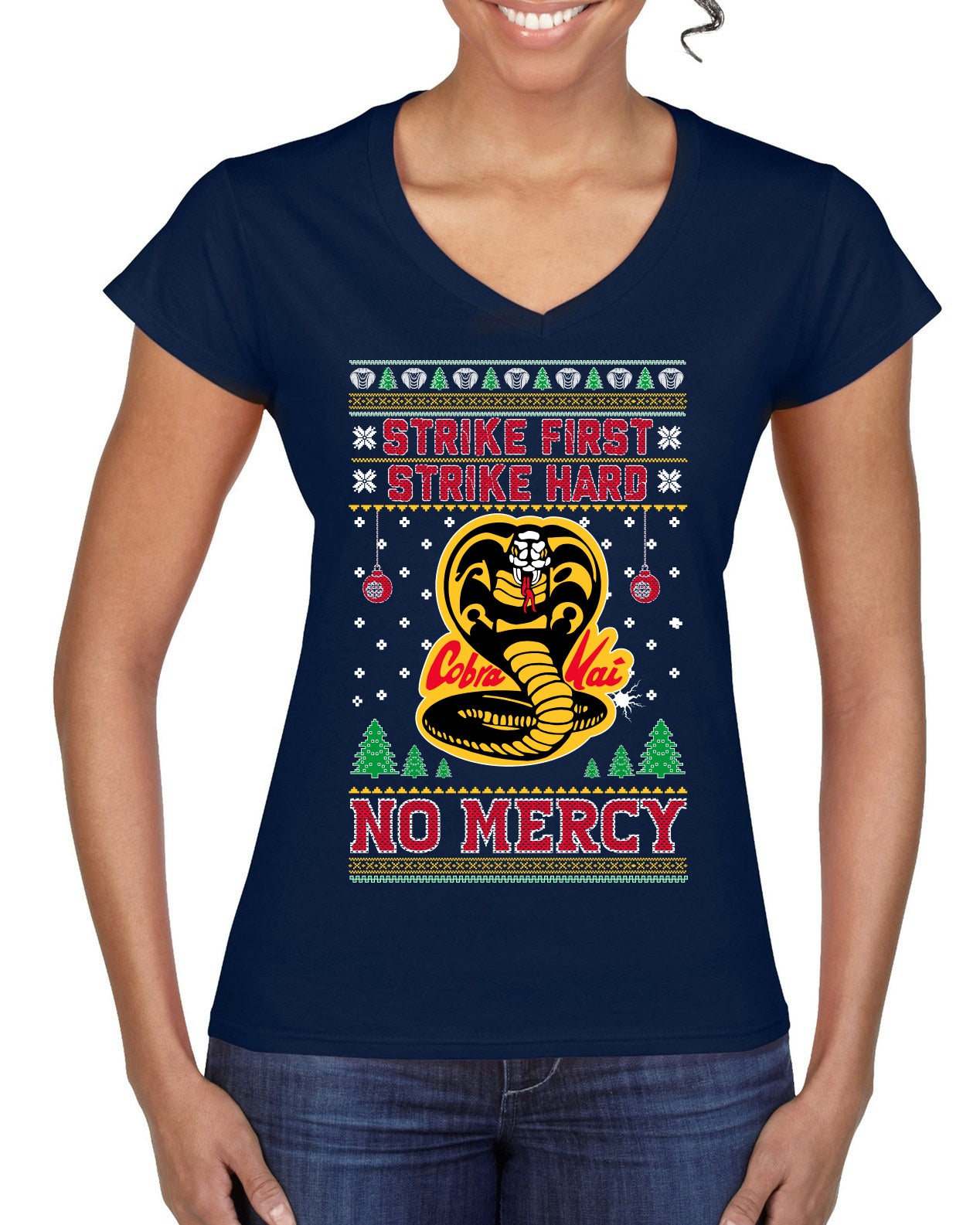 Strike First Strike Hard No Mercy Xmas Ugly Christmas Sweater Women's Standard V-Neck Tee