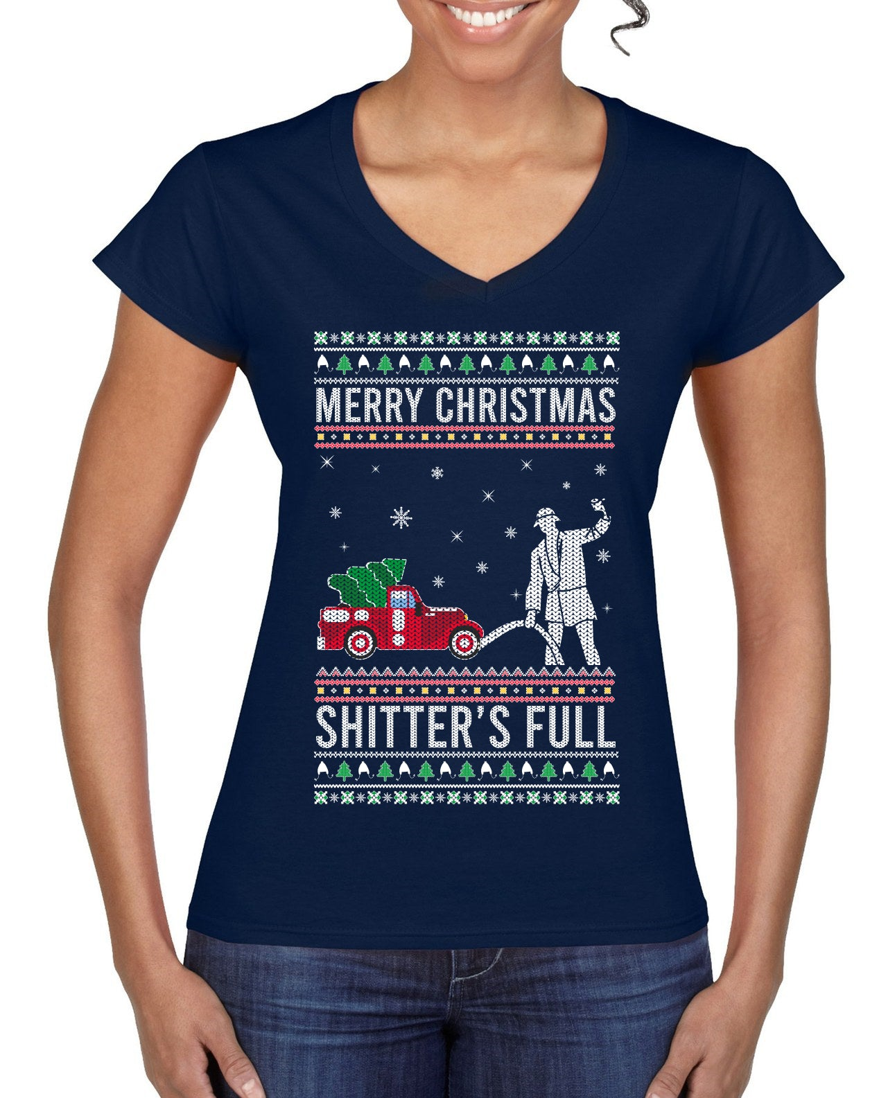 Merry Christmas Shitter's Full Christmas Vacation Ugly Christmas Sweater Women's Standard V-Neck Tee