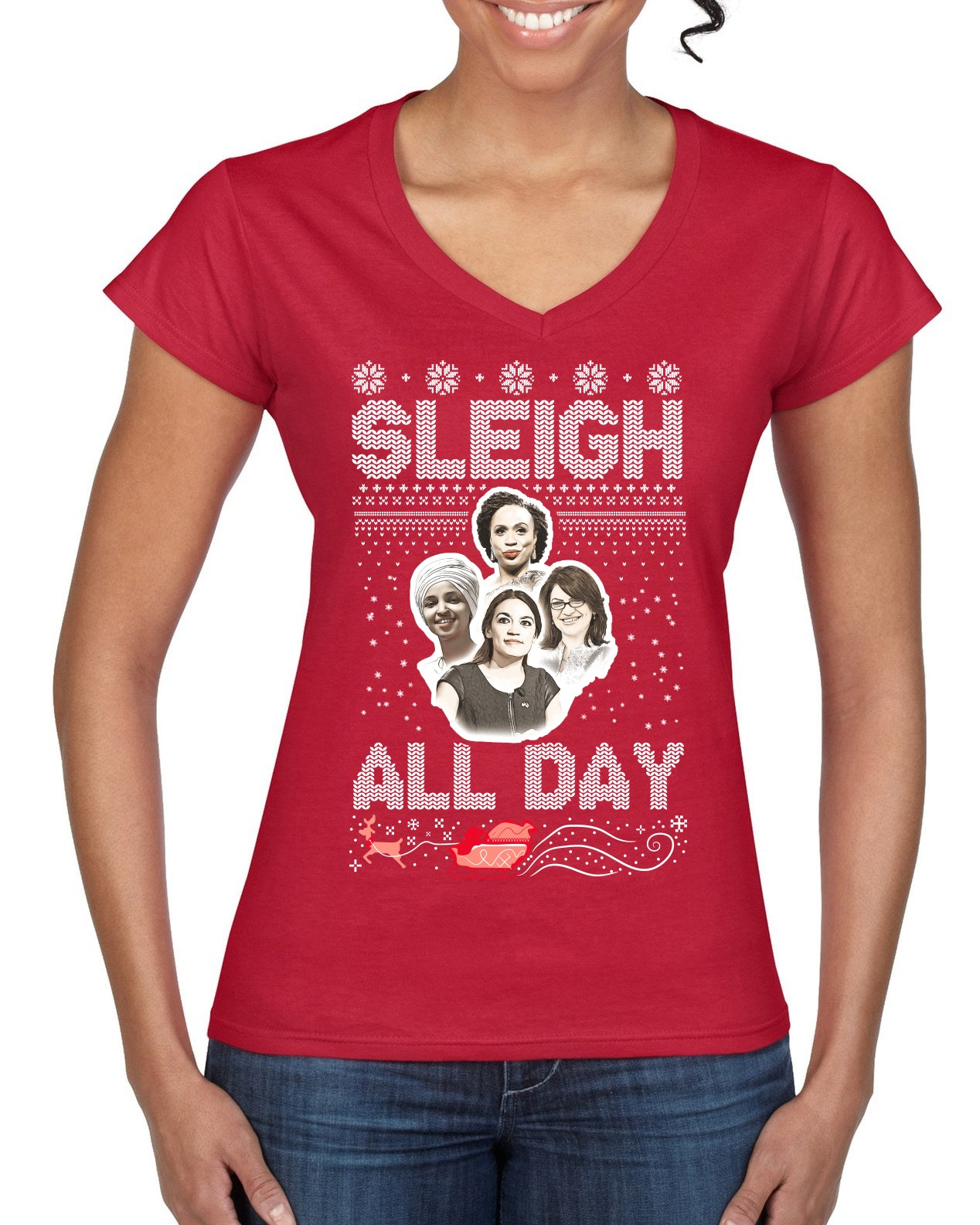 AOC The Squad Congresswomen Sleigh All Day Xmas Ugly Christmas Sweater Women's Standard V-Neck Tee