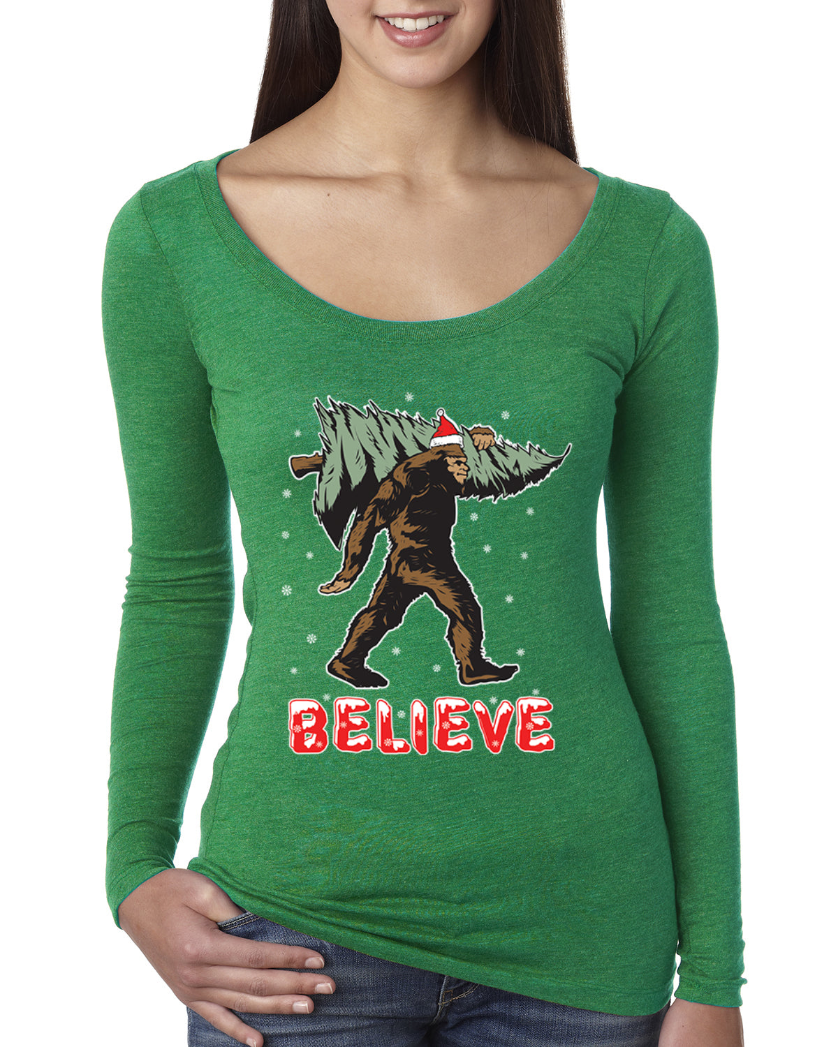 Believe Sanata Sasquatch Bigfoot Christmas Christmas Womens Scoop Long Sleeve Top