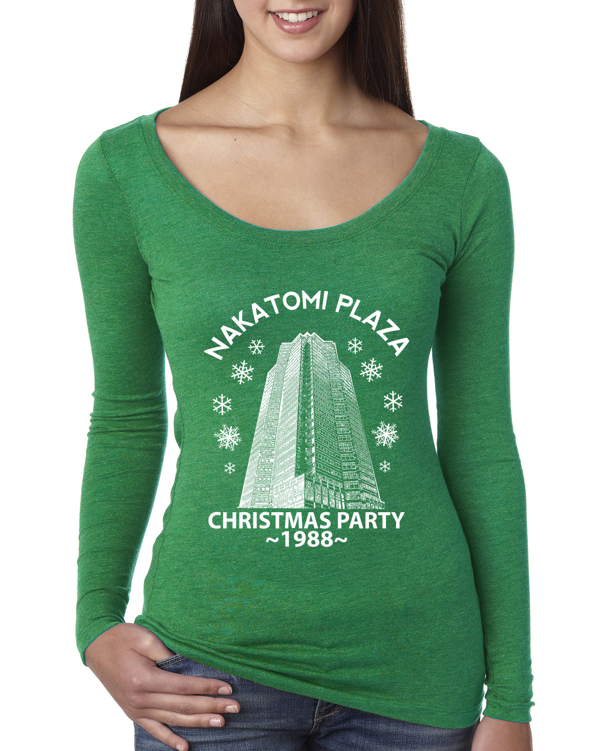 Nakatomi Plaza Christmas Party 1988 Classic McClane Die Hard Christmas Womens Scoop Long Sleeve Top