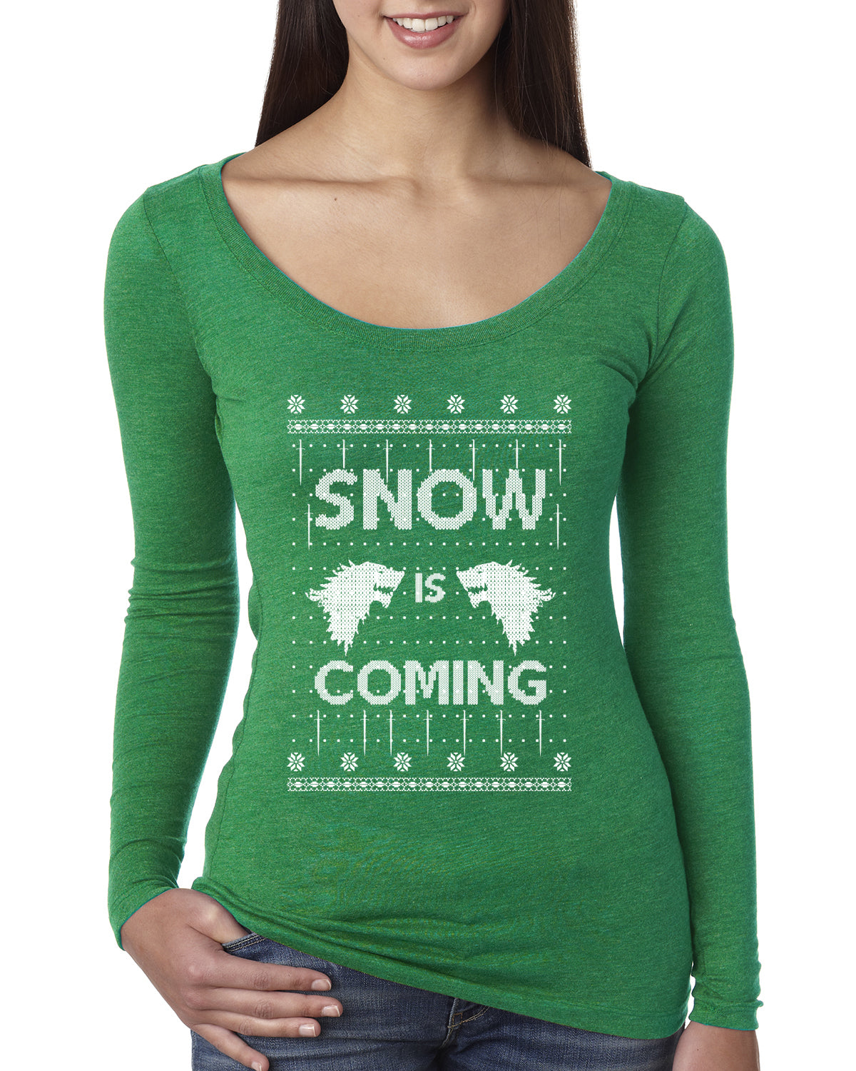 Snow is Coming | GoT Stark Christmas Womens Scoop Long Sleeve Top