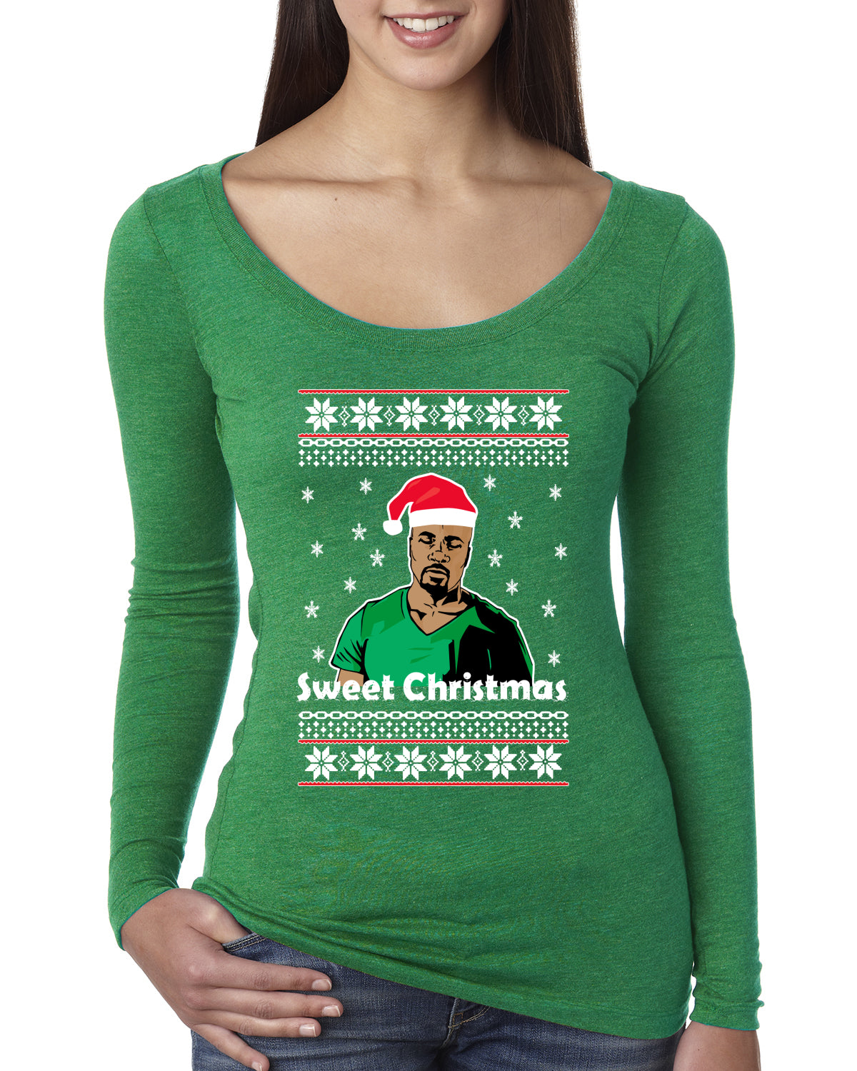 Sweet Christmas Cage TV Quote Christmas Womens Scoop Long Sleeve Top