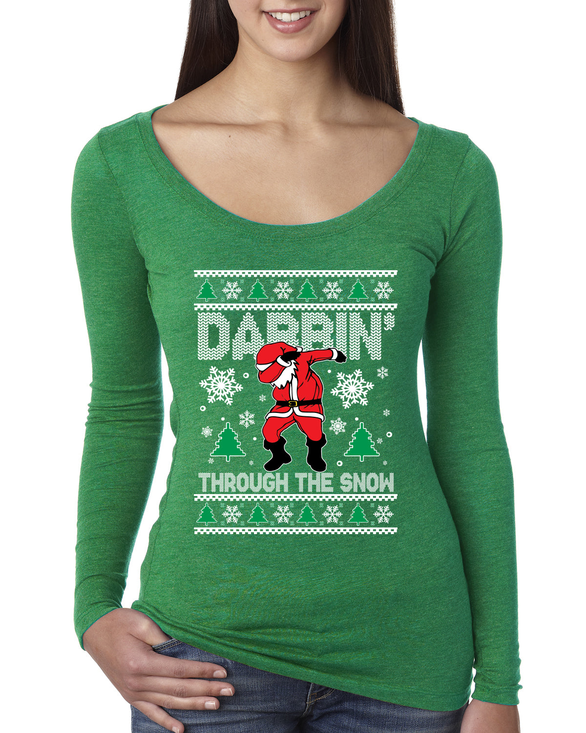 Dabbing Through The Snow Santa Christmas Womens Scoop Long Sleeve Top