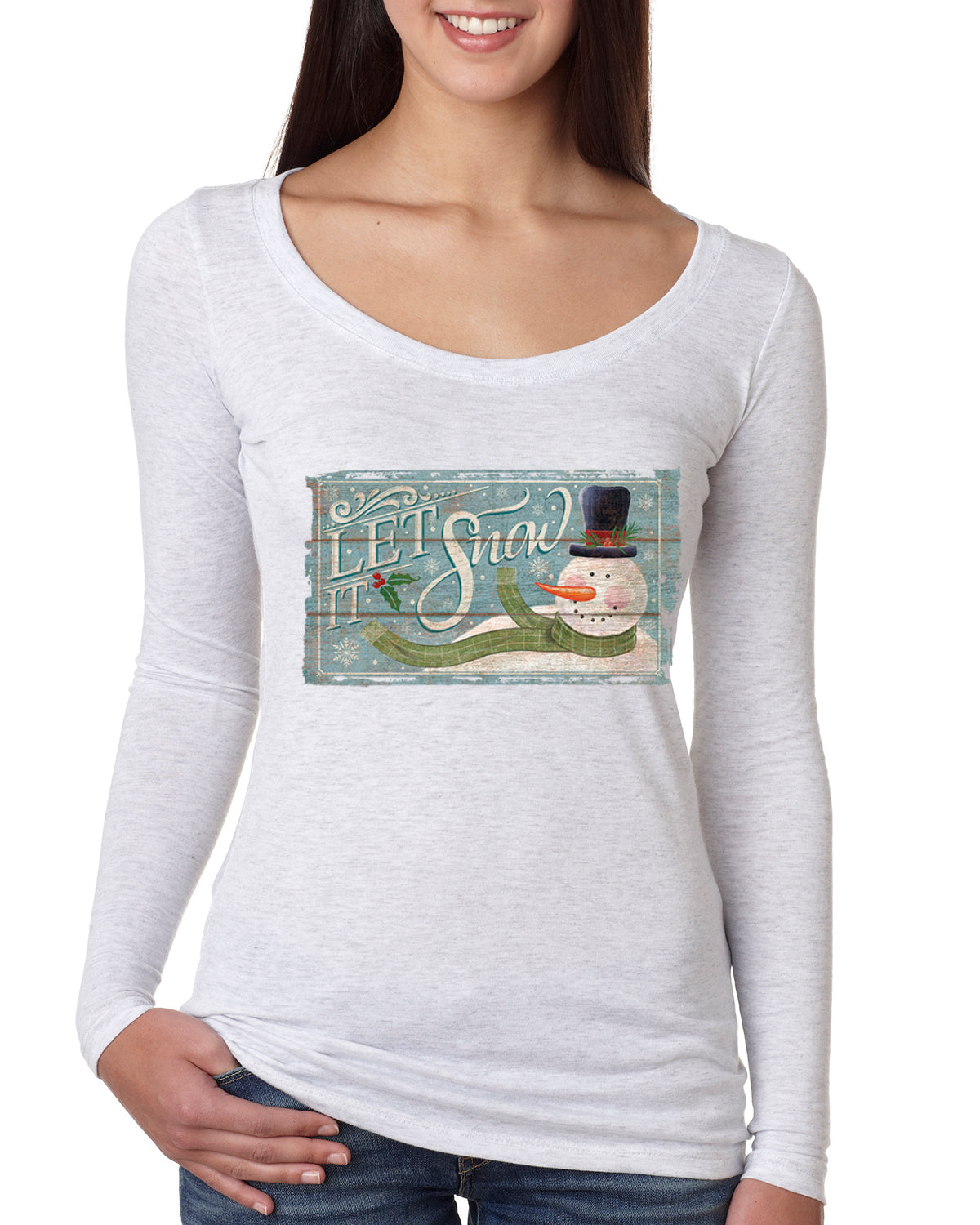 Let it Snow Green Scarf Snowman Christmas Womens Scoop Long Sleeve Top