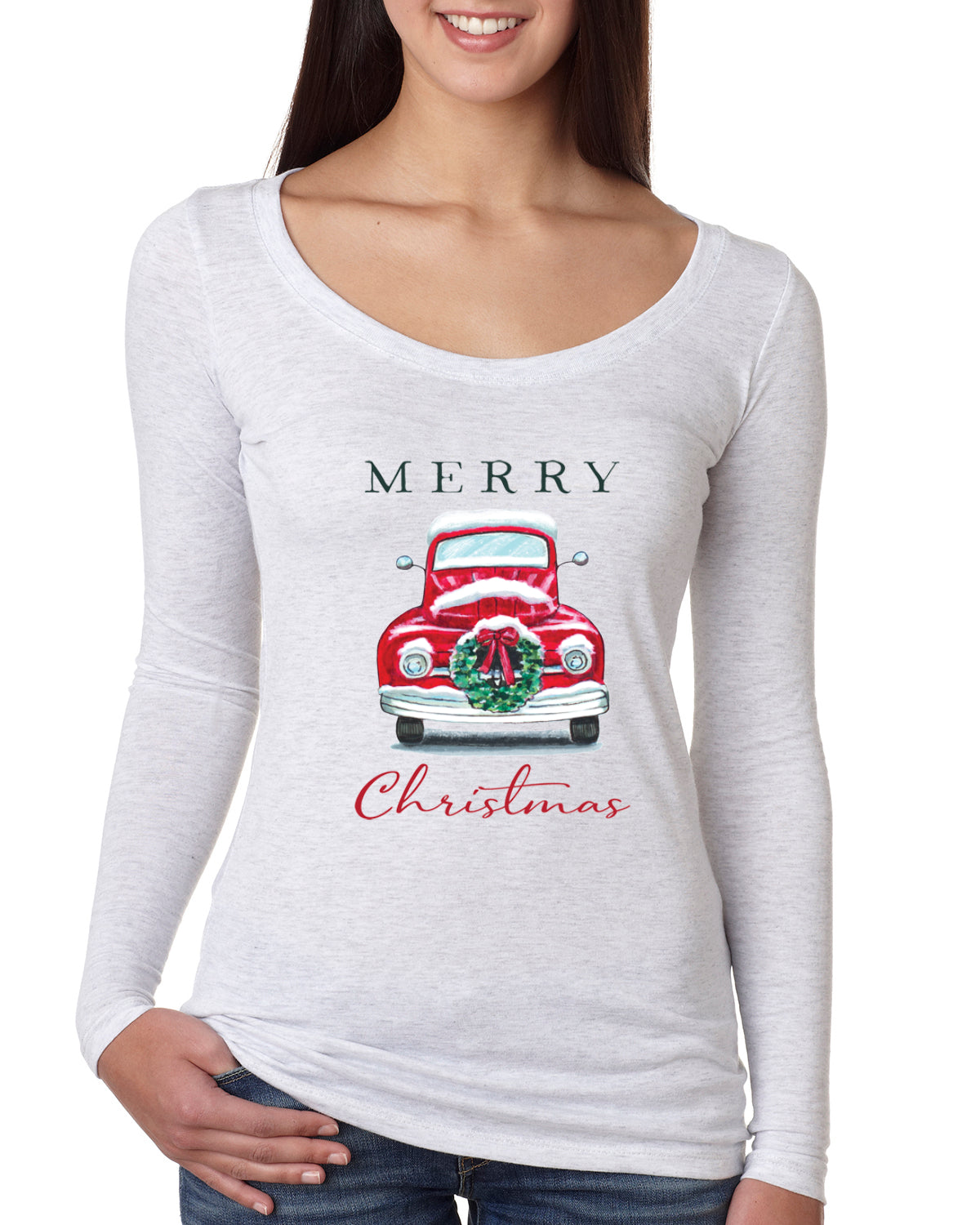 Merry Christmas Red Car with Xmas Garland Christmas Womens Scoop Long Sleeve Top