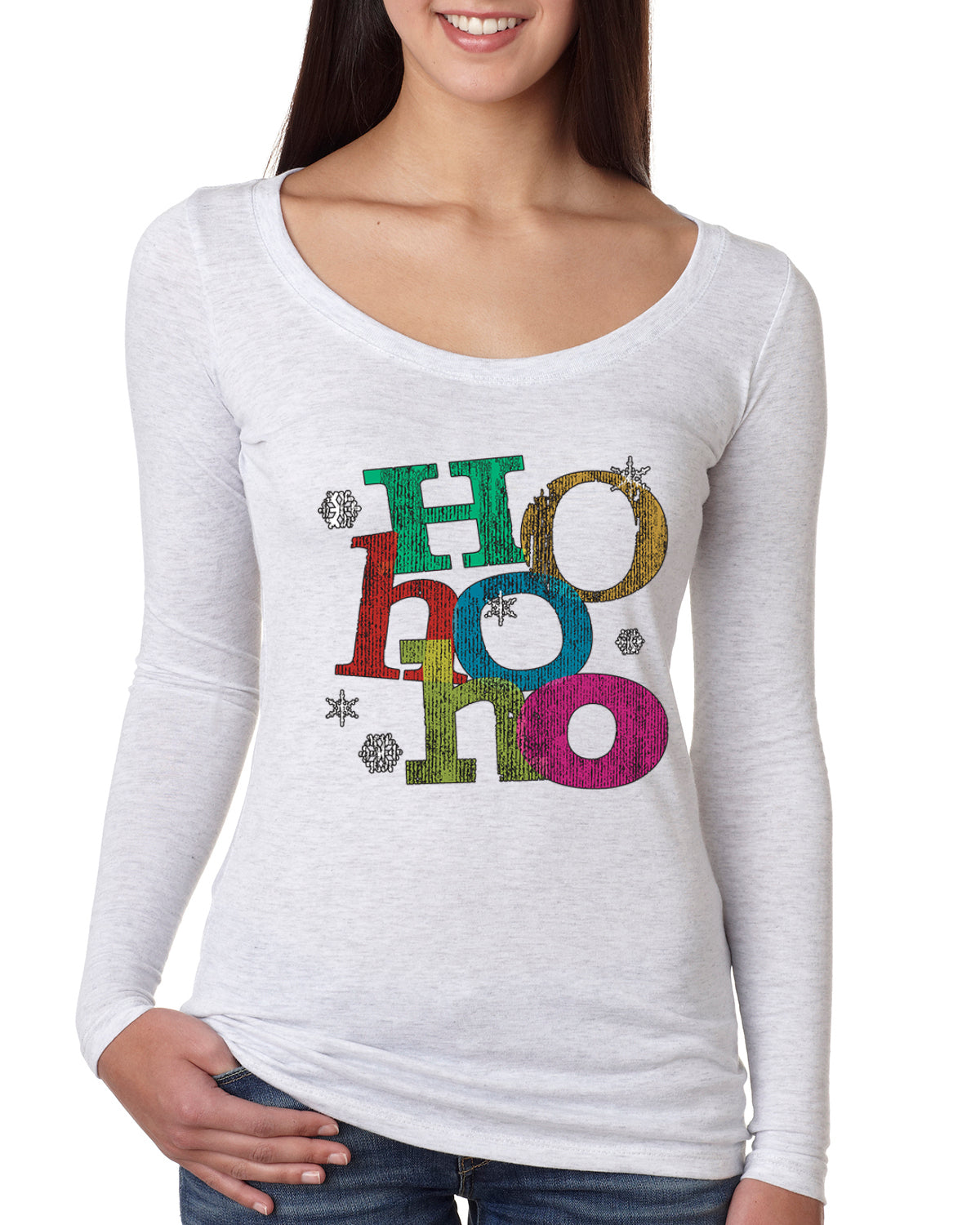 Colorful Ho Ho Ho Christmas Womens Scoop Long Sleeve Top