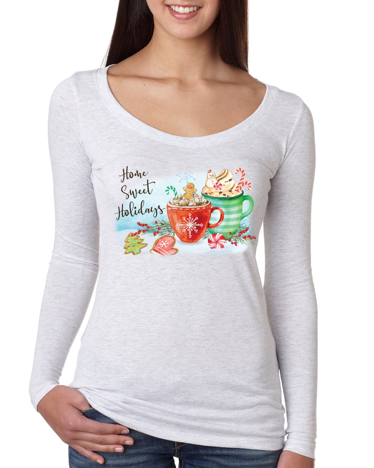 Home Sweet Holidays Christmas Womens Scoop Long Sleeve Top