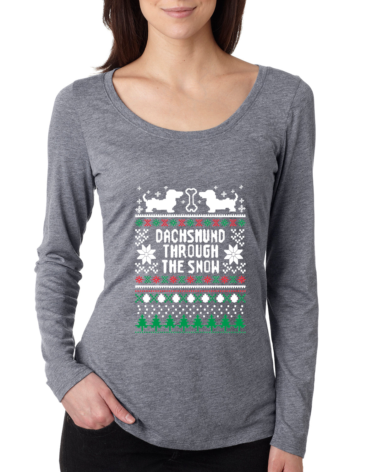 Daschund Through The Snow Christmas Womens Scoop Long Sleeve Top