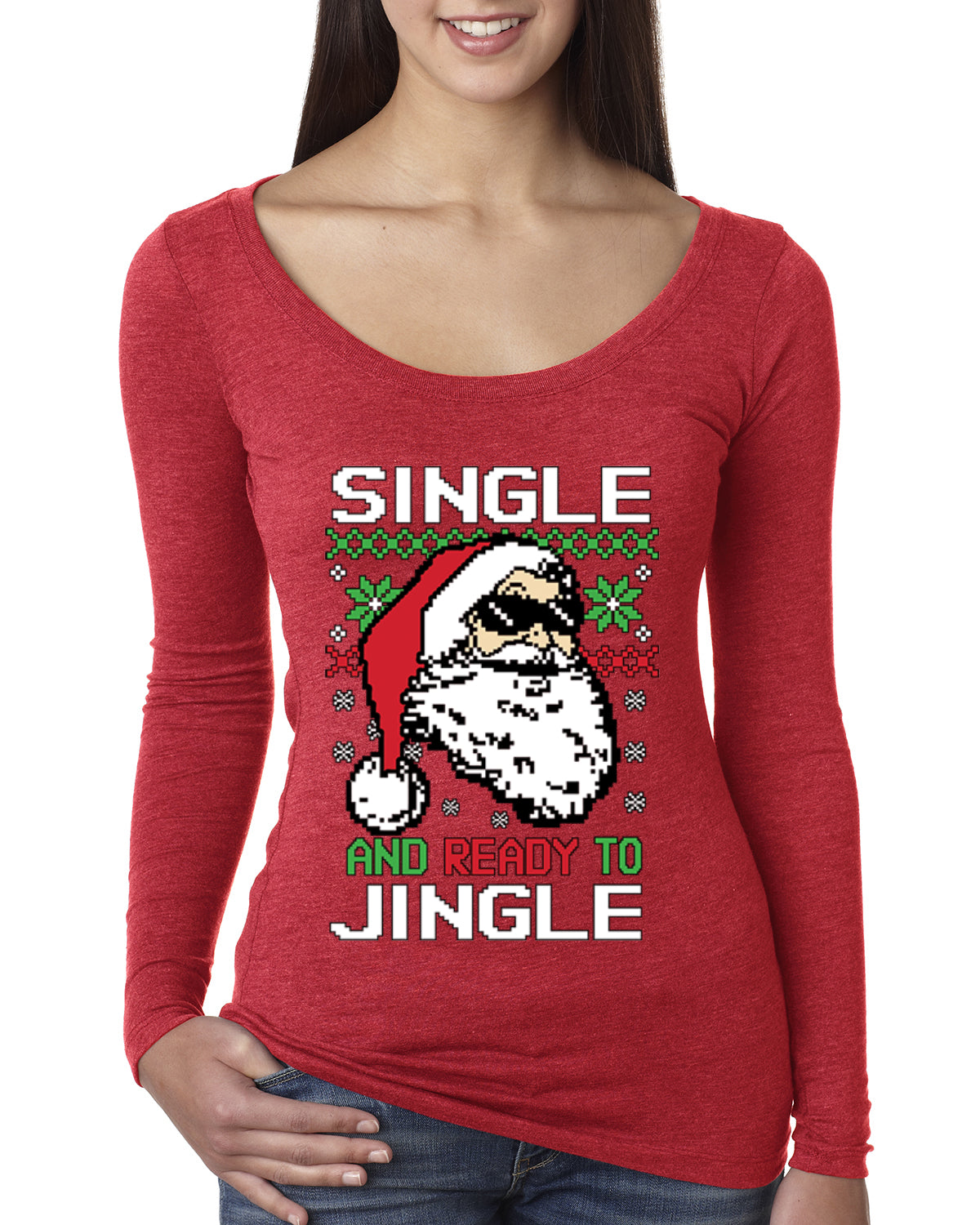 Santa Single and Ready to Jingle Christmas Womens Scoop Long Sleeve Top