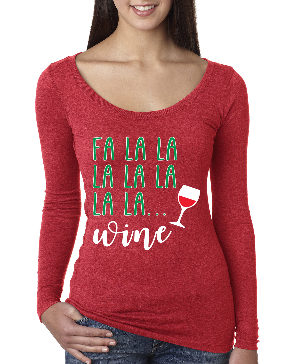 Fa La La La Wine Xmas Spirit Ugly Christmas Sweater Christmas Womens Scoop Long Sleeve Top