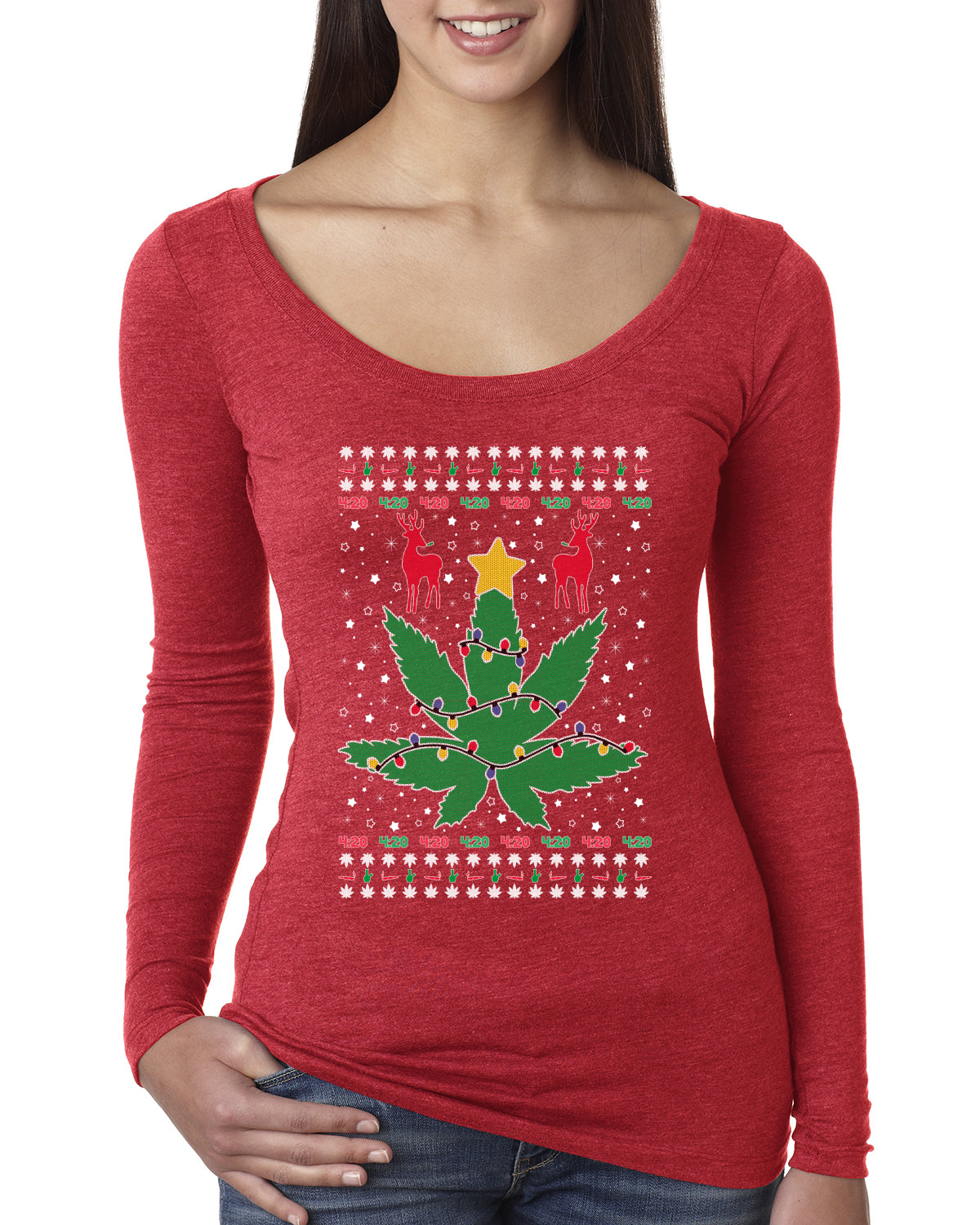 Weed Marijuana Lit Deer Pot Leaf Xmas Lights Christmas Womens Scoop Long Sleeve Top