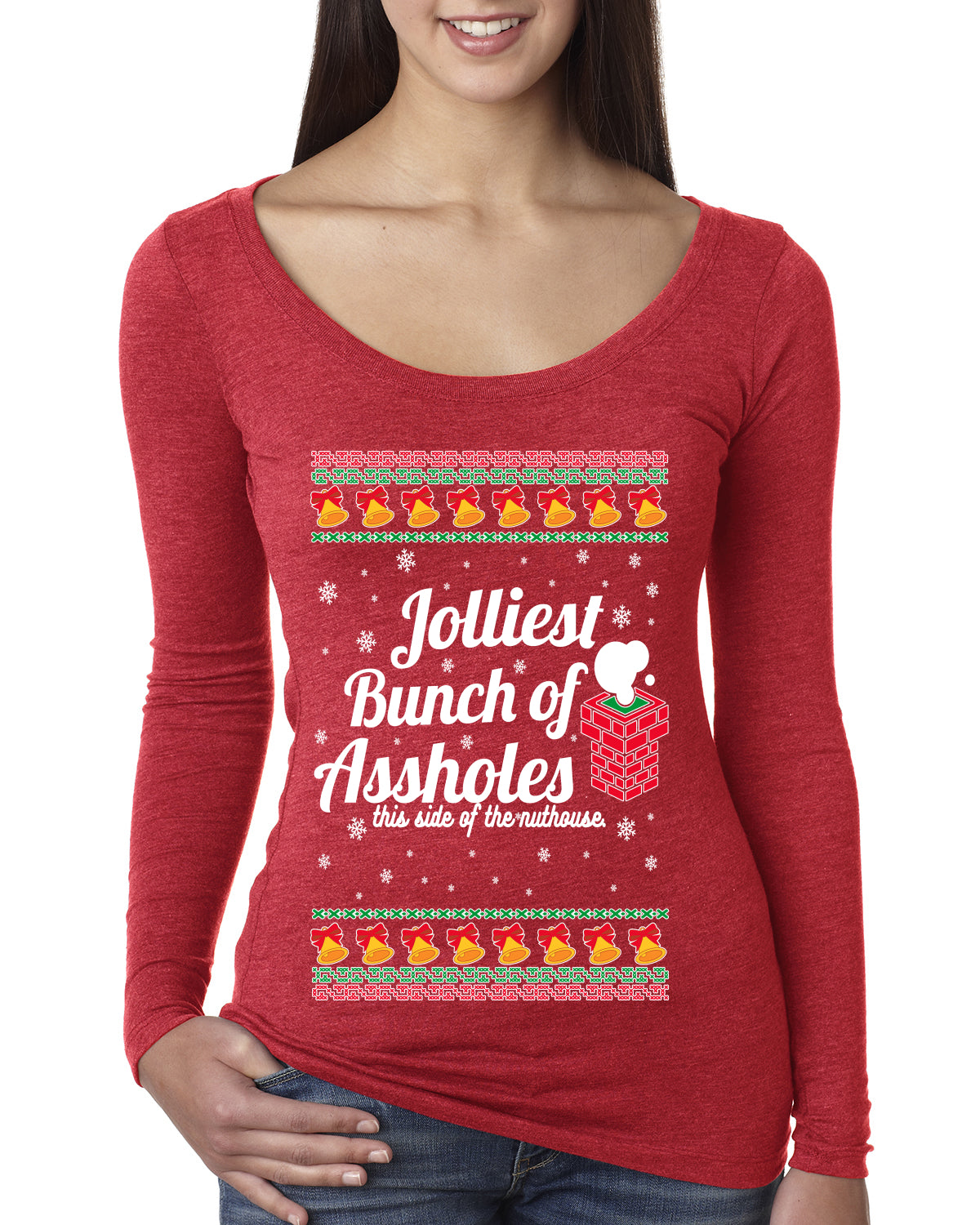 Jolliest Bunch of Assholes Xmas Movie Ugly Christmas Sweater Womens Scoop Long Sleeve Top
