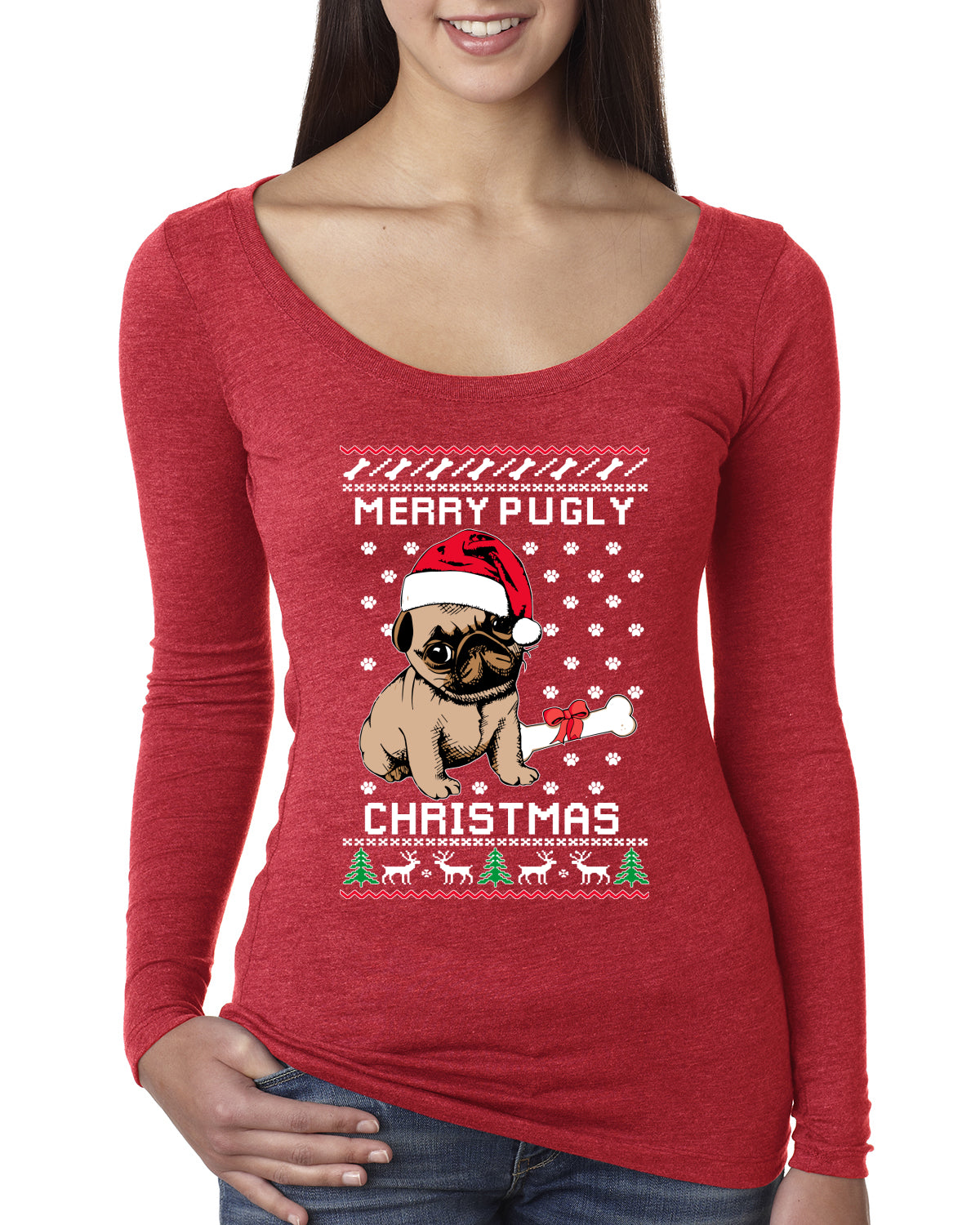 Merry Pugly Christmas Christmas Womens Scoop Long Sleeve Top