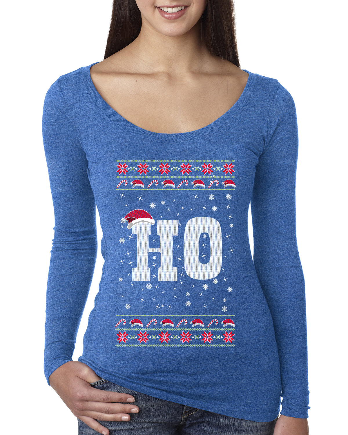 Christmas Ho Ugly Christmas Sweater Womens Scoop Long Sleeve Top
