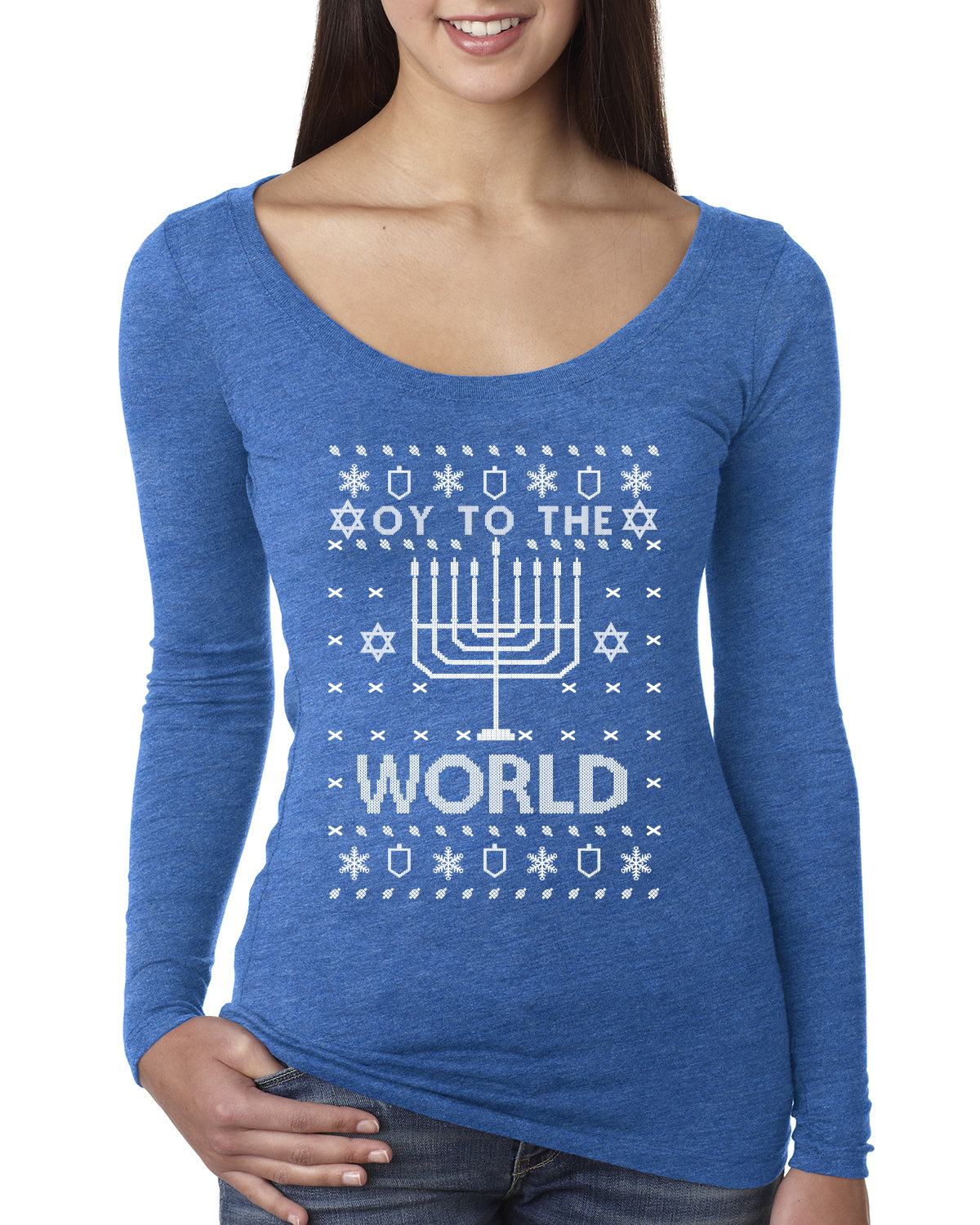 Oy to The World Funny Jewish Xmas Menorah Christmas Womens Scoop Long Sleeve Top
