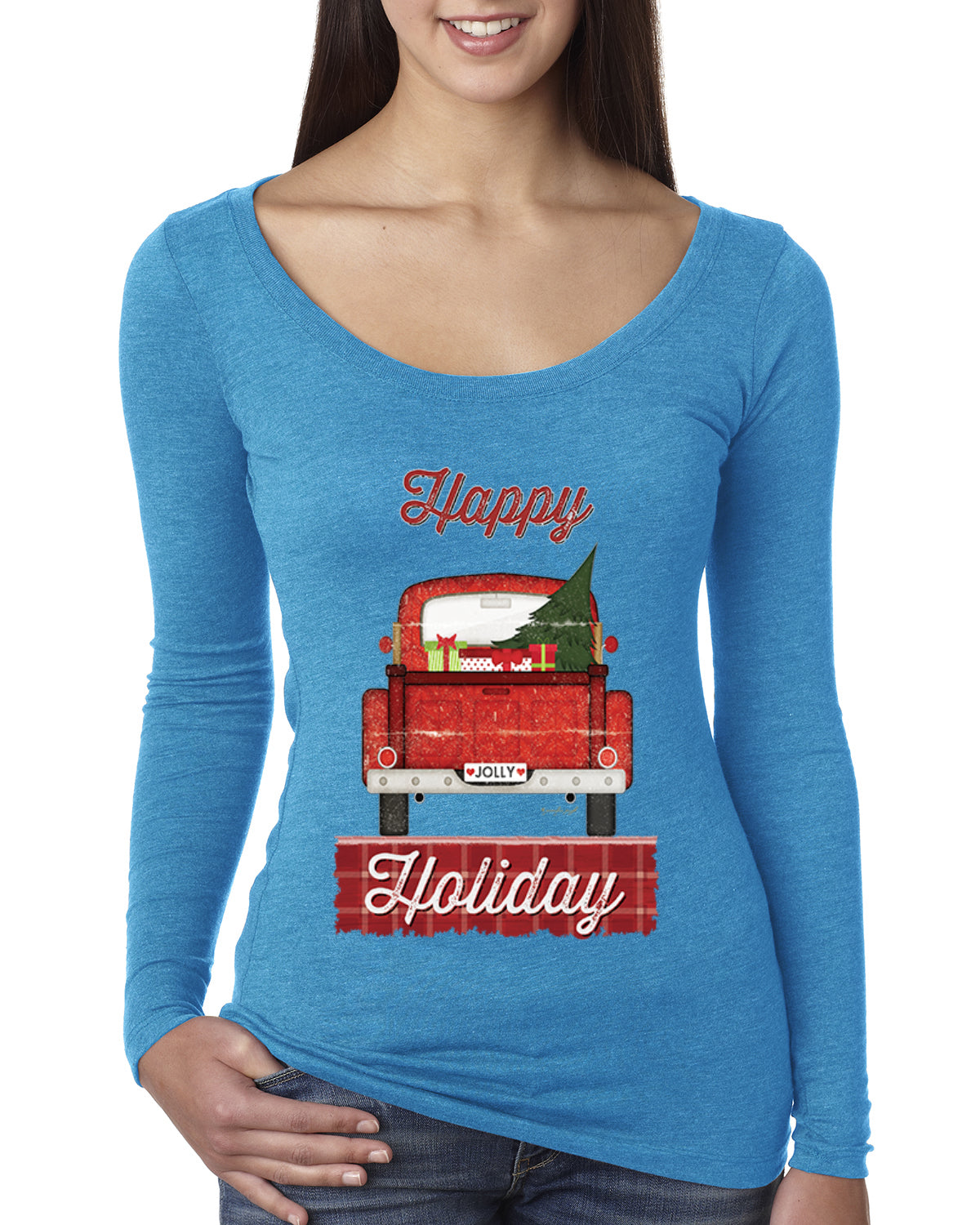 Happy Holiday Jolly Red Pick Up Christmas Womens Scoop Long Sleeve Top