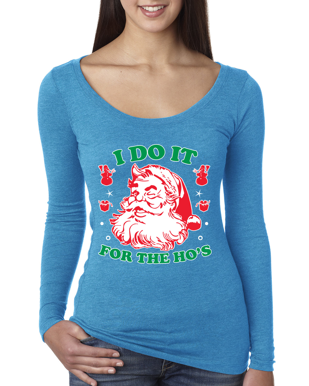 I Do it for the Hos Xmas Ugly Christmas Sweater Christmas Womens Scoop Long Sleeve Top