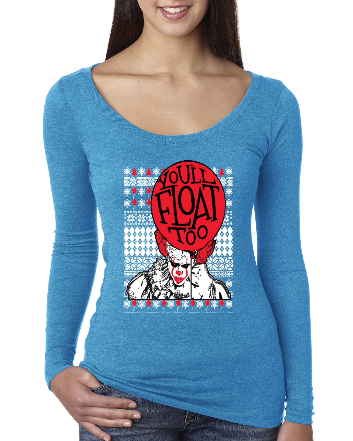 You'll Float Too | Clown IT Christmas Womens Scoop Long Sleeve Top