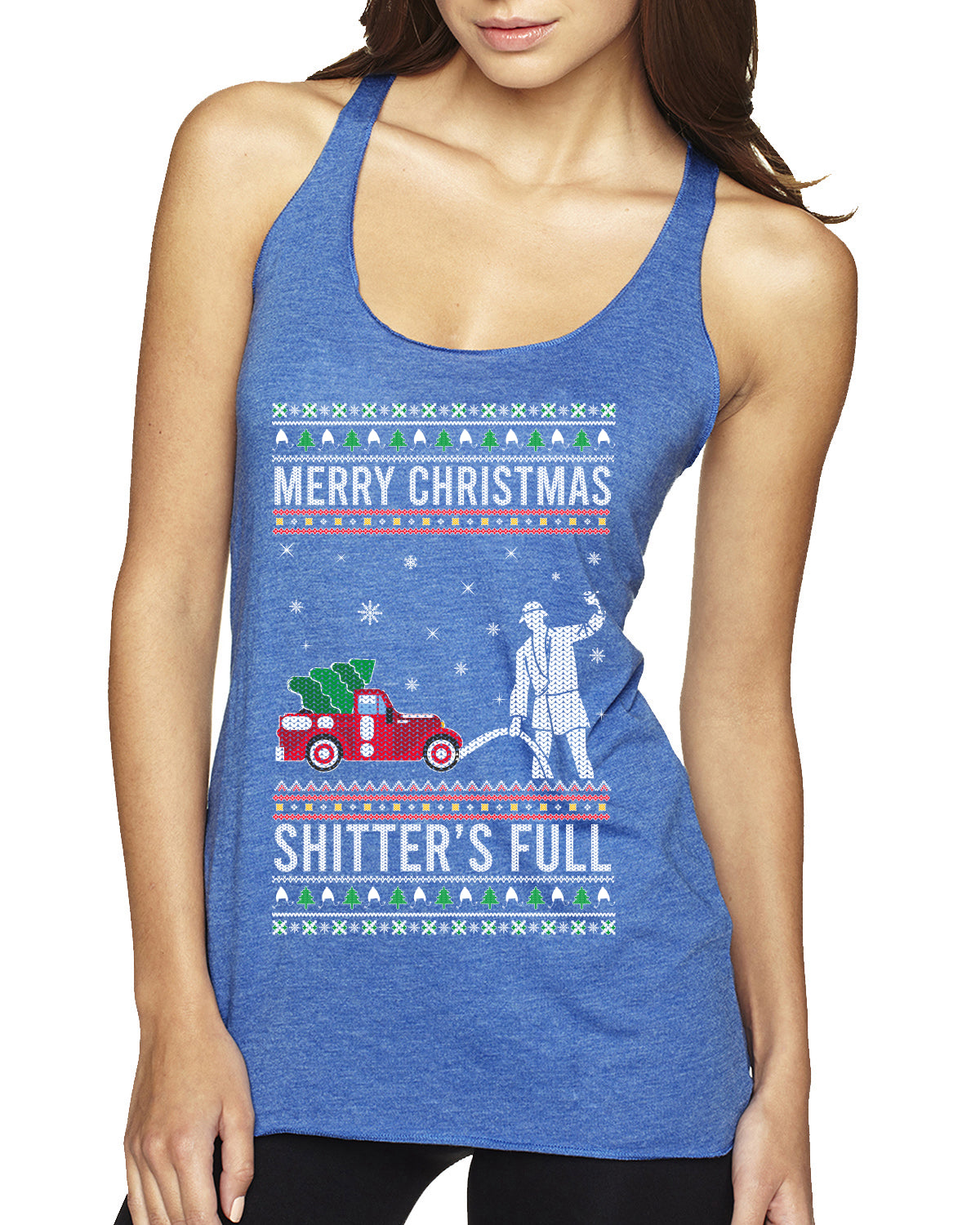 Merry Christmas Shitter's Full Christmas Vacation Ugly Christmas Sweater Tri-Blend Racerback Tank Top