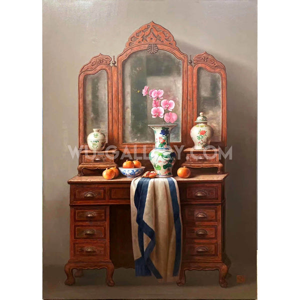 Still life oil painting:Chinese make-up table t017