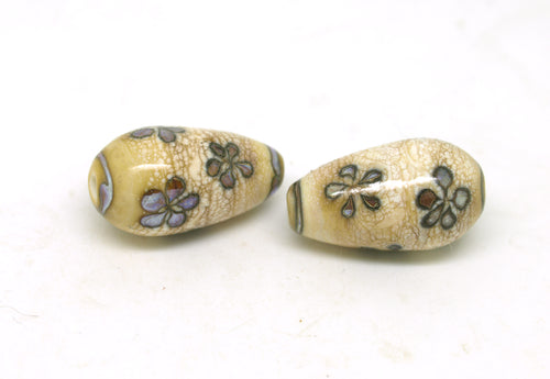 Ivory & Purple Brown Glass Flower Drop Beads