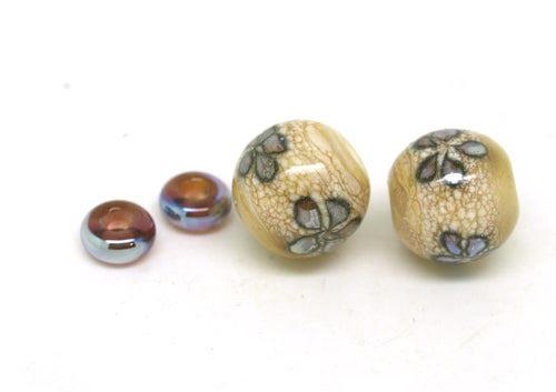 Ivory & Purple Brown Round Glass Bead Pair