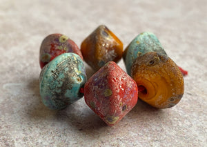 Rustic Bicone Bead Set - Copper Green, Ochre, Coral Red