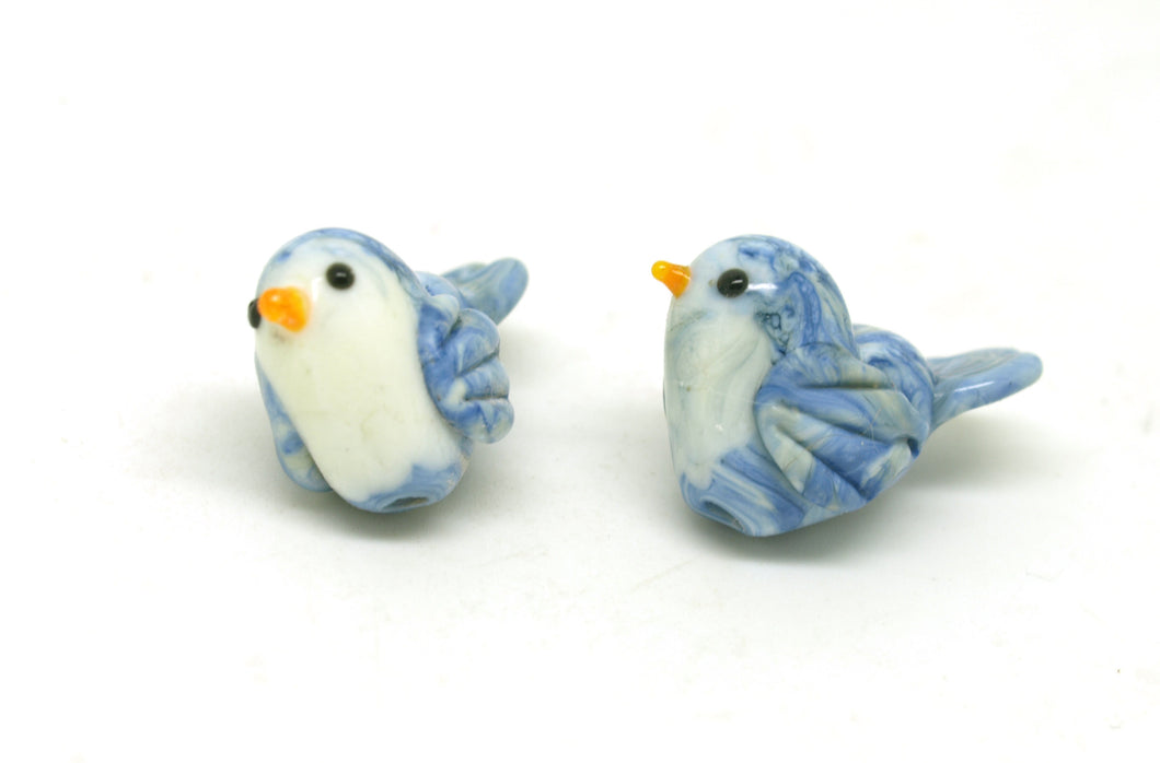 Marbled Blue and Ivory Bird Pair