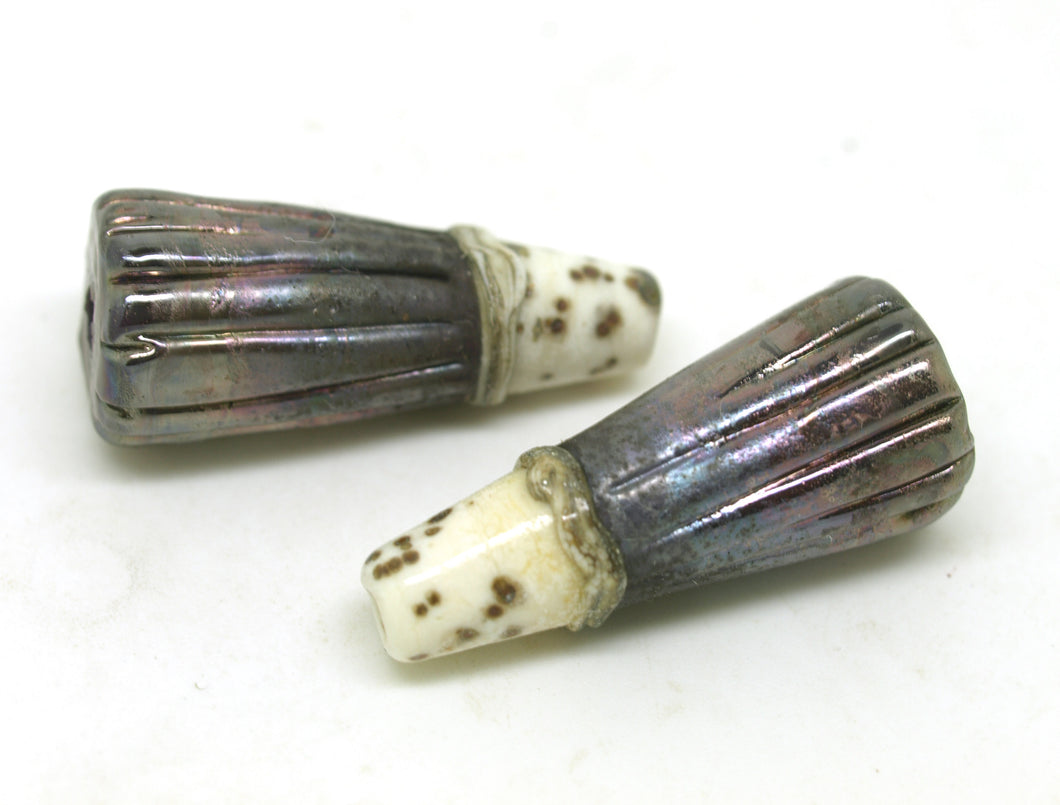 Ivory and Metallic Grey Ridged Bead Pair