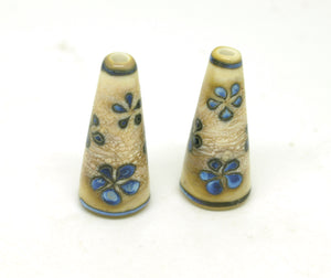 Blue and Ivory Flower Lampwork Cone Pair