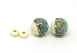 Pretty Green & Ivory Lampwork Bead Pair