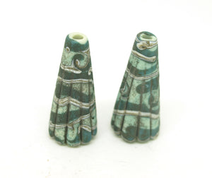 Aged Copper Green Cone Pair