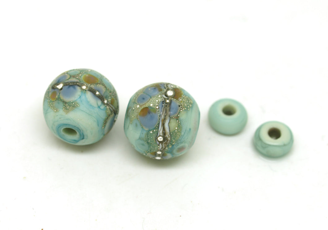 Pretty Green Lampwork Bead Pair with Pastel Frit Blend