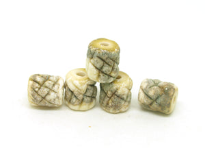 Textured Ivory Tube Beads
