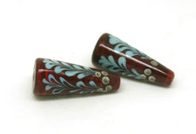 Load image into Gallery viewer, Red Holly Lampwork Cone Bead Pair