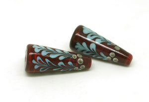 Red Holly Lampwork Cone Bead Pair