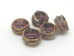 Purple Glass Beads - SRA Lamp work - Aged Beads
