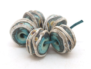 Aged Green & Raku Glass Beads