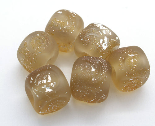 Brown Glass Cube Beads