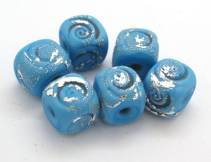 Turquoise Glass Cube Beads