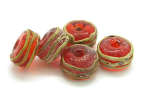 Red and Raku Glass Beads - Handmade Lampwork Beads - Jewellery Making -Jewelry Making