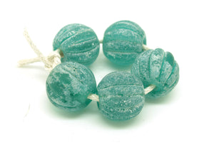 Teal Lampwork Melon Beads, Aged Glass