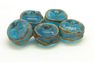 Aged Turquoise and Raku Glass Beads