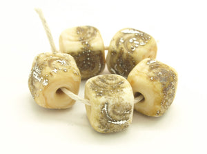 Ivory Glass Cube Beads