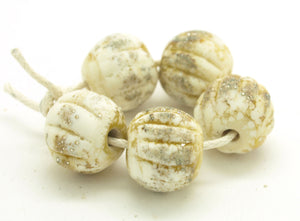 Ivory Glass Melon Beads