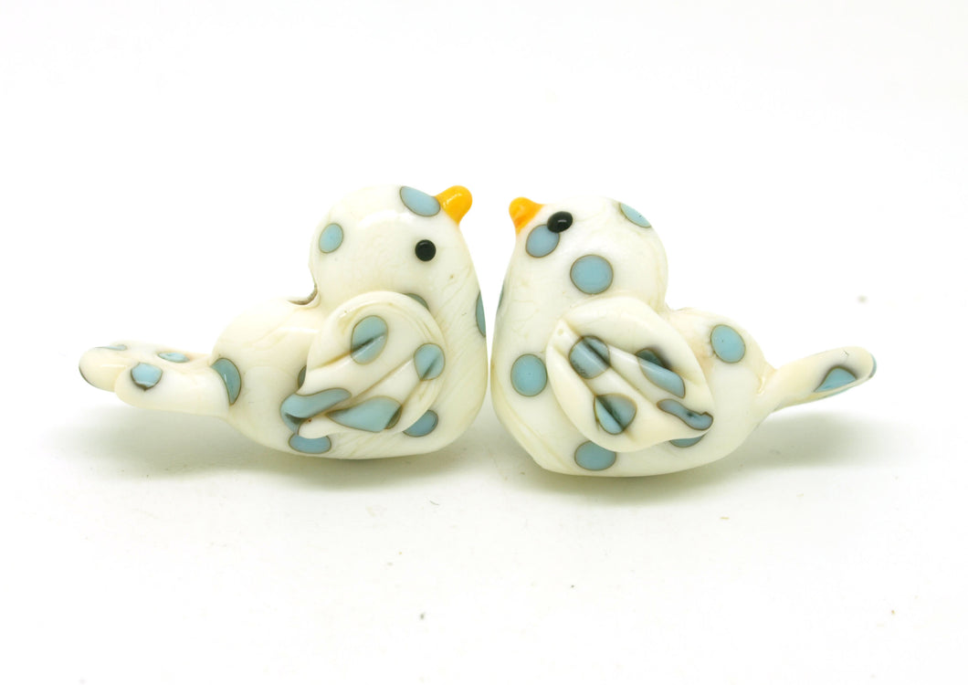 Ivory and Blue Polka Dot Bird Beads