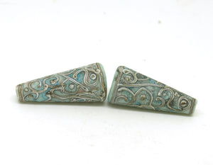 Aged Copper Green Bead Pair