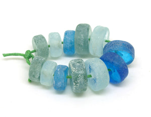 Blue & Green Aged Glass Beads
