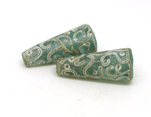 Aged Green Glass Bead Pair